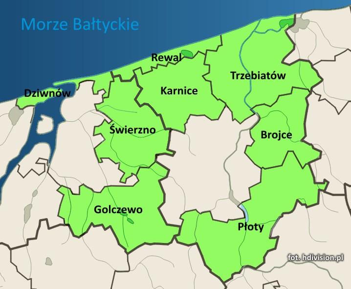 Mapa obszaru Rybackiej Lokalnej Grupy Działania Pomorza Zachodniego